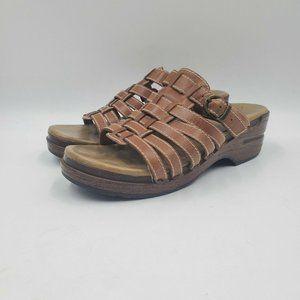 Dansko Marion Wedge Brown Strappy Leather Sandal